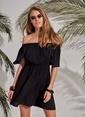 Morhipo Beach Düşük Omuz Elbise Siyah